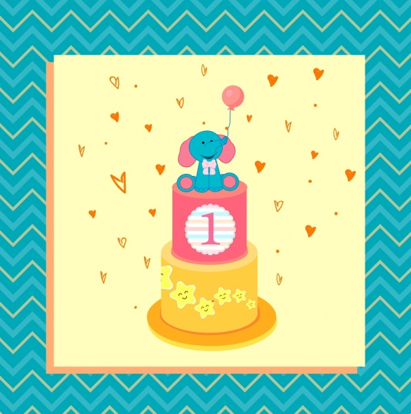 baby birthday background cream cake cartoon elephant ornament