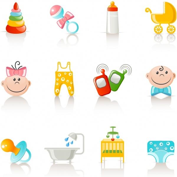 baby shower design elements colored symbols decor