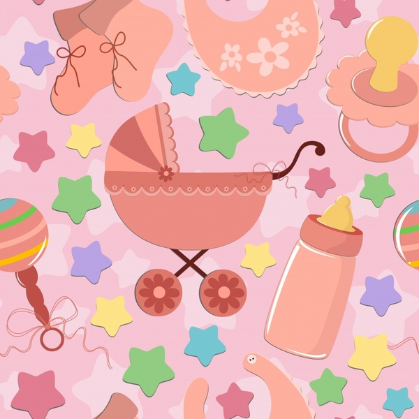 baby shower background stuffs icons flat paper cut