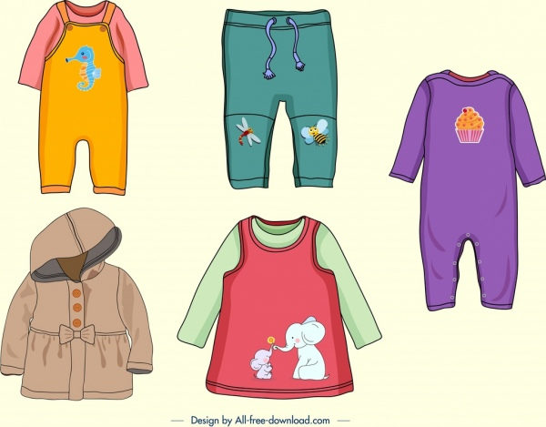 baby clothes icons colorful cute decor