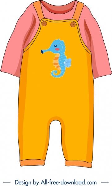 baby clothes template seahorse icon decor