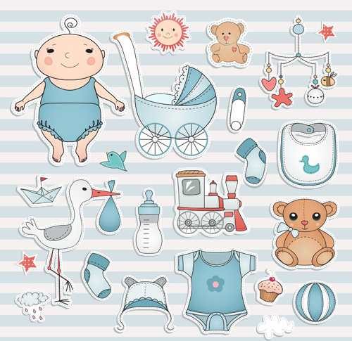 baby elements sticker vector