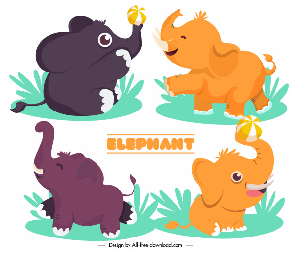 baby elephant icons joyful sketch cute cartoon design