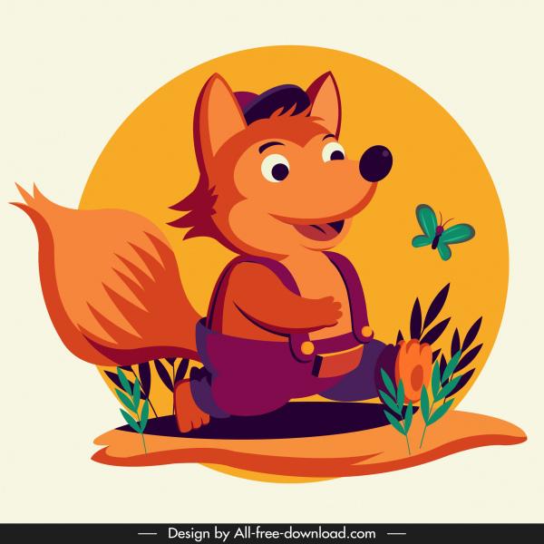 baby fox icon cute stylized cartoon character