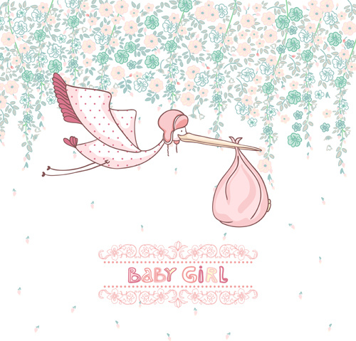 Baby Girl Cute Card Vector Free Vector In Encapsulated Postscript