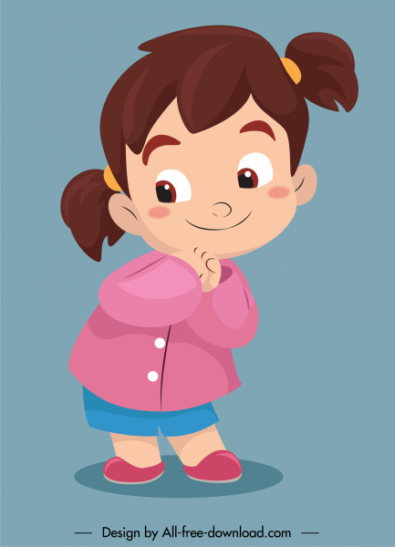 baby girl icon cute cartoon character sketch