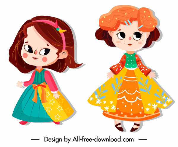 baby girl cartoon characters baby girl icons colorful costumes cute cartoon characters
