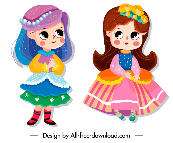 baby girl icons cute cartoon characters sketch