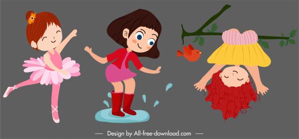 baby girl icons joyful gestures cute cartoon characters