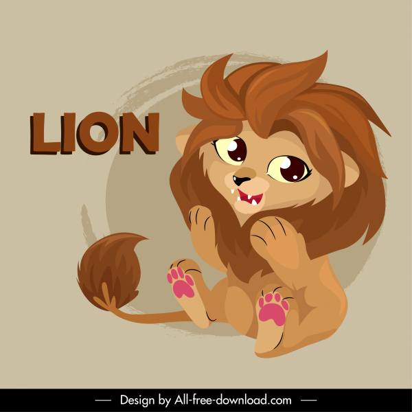 baby lion icon cute cartoon character sketch