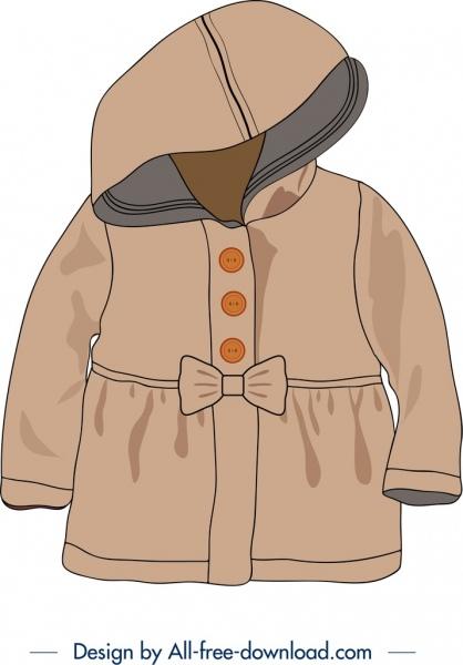 baby overcoat icon brown 3d design