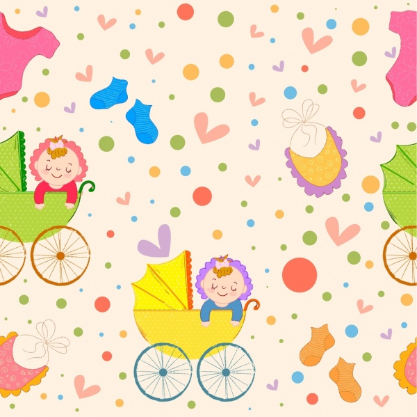 547cfc85b Baby pattern kid trolley icons cute colorful decor Free vector in ...