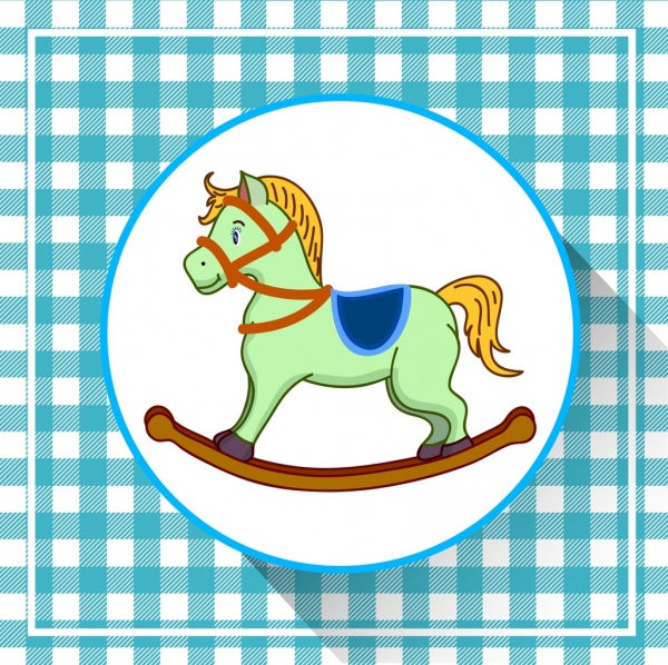baby shower background horse toy icon checkered decor
