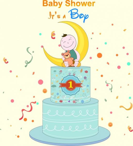 baby shower banner birthday cake boy icons decor