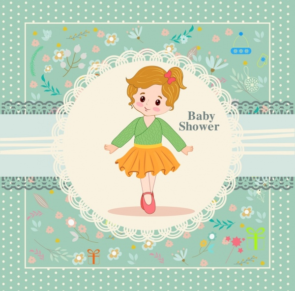 baby shower banner girl icon classical flowers ornamental