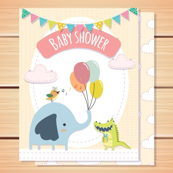 baby shower card template elephant crocodile bird icons