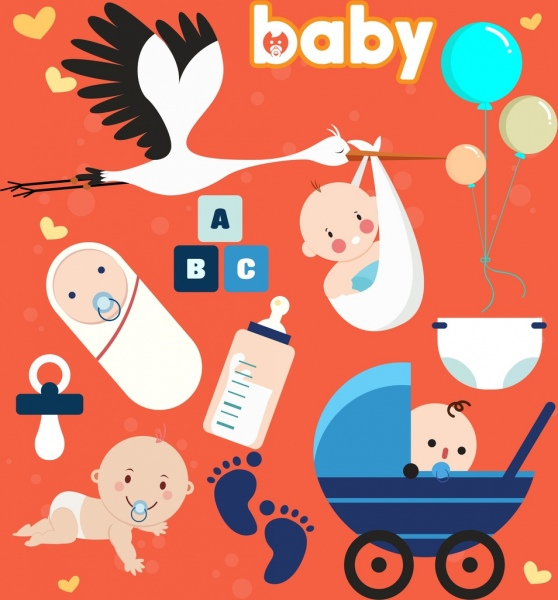 baby shower design elements classical icons