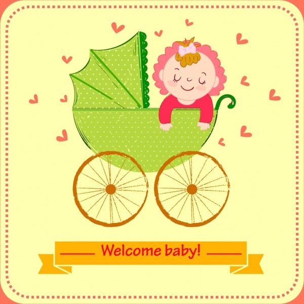 baby shower invitation card cute kid cart drawing