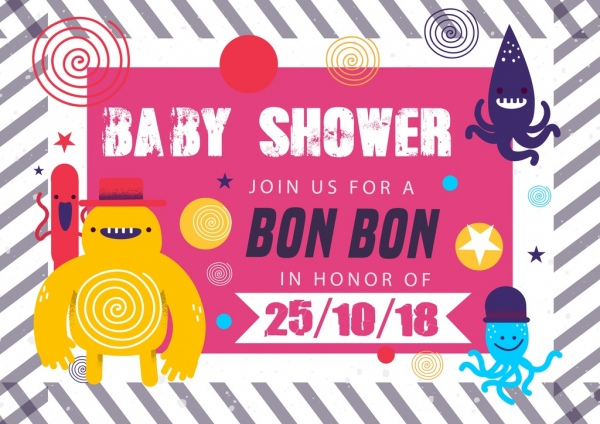 baby shower invitation card funny cartoon characters