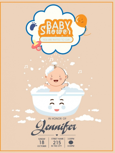 baby shower poster washing kid icon cute design free vector in adobe