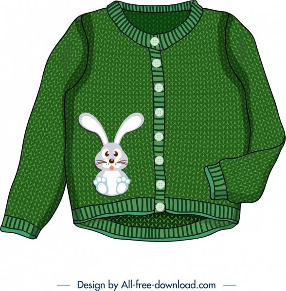 baby sweater icon bunny decor cute green design