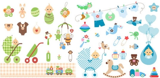 baby shower design elements cute colored flat objects