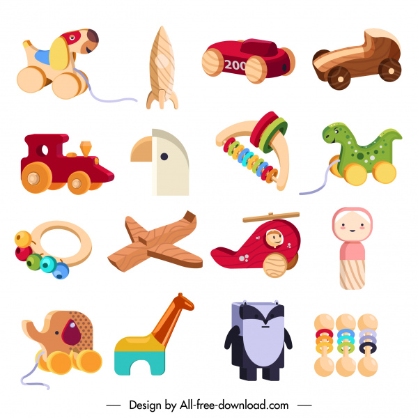 baby toys icons colorful modern 3d sketch