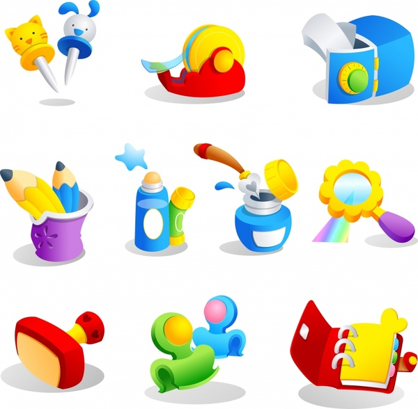 toy object icons colorful modern 3d design