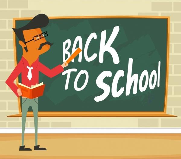 back to school banner teacher chalkboard icons