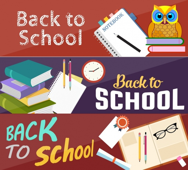 back to school banners owl book pens icons