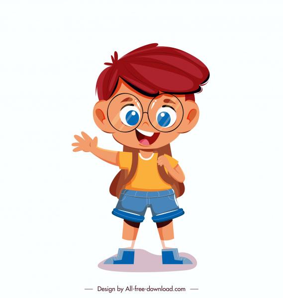 back to school icon cute boy sketch