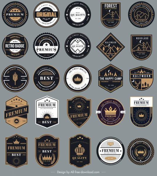 Badges templates collection elegant black white shapes Free vector
