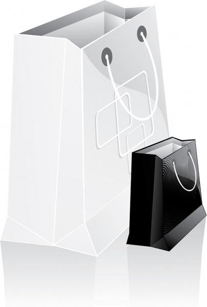 shopping bags icons black white 3d modern sketch