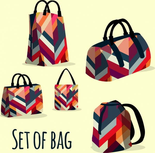 Bags templates colorful abstract pattern design Free vector in Adobe ... b4a2f739c0543
