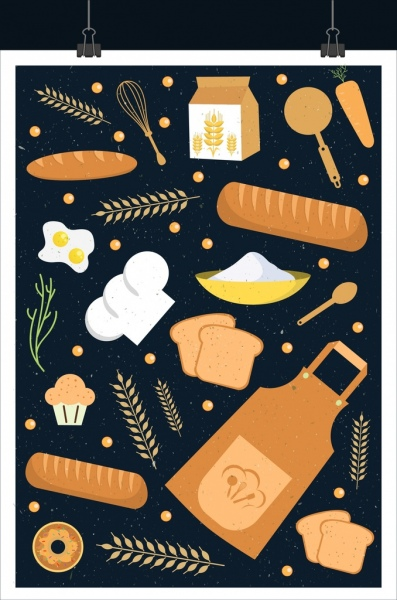 bakery background bread barley flour icons repeating decor