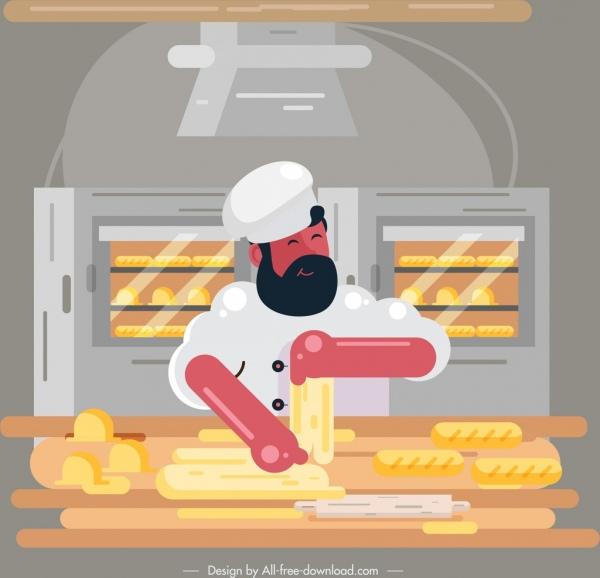 bakery chef icon colored cartoon sketch
