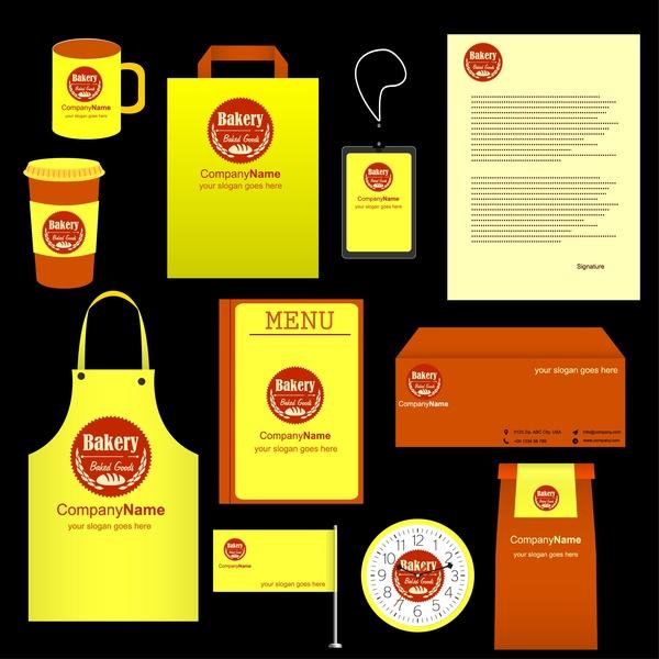 bakery identity sets logo elements on yellow background