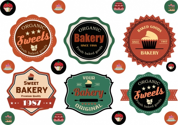 bakery labels collection multicolored circle flat design