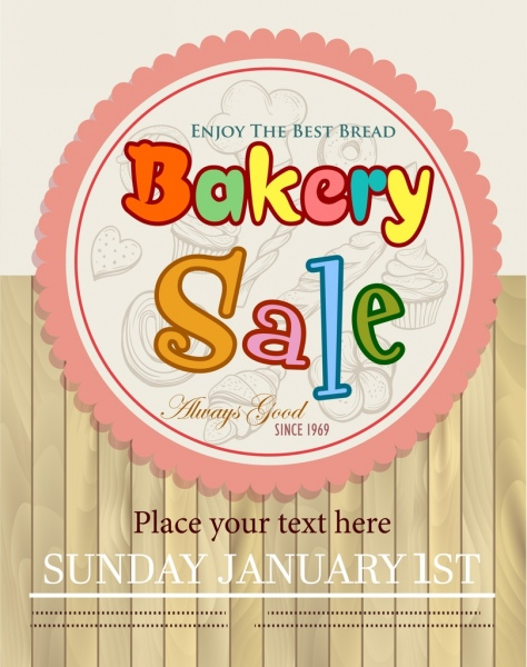bakery sale banner circle stamp wooden wall decor