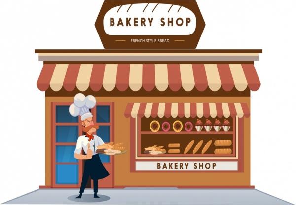 Bakery Shop Advertisement Man Icon Classical Cartoon
