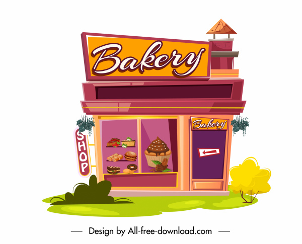 bakery store icon colorful flat sketch