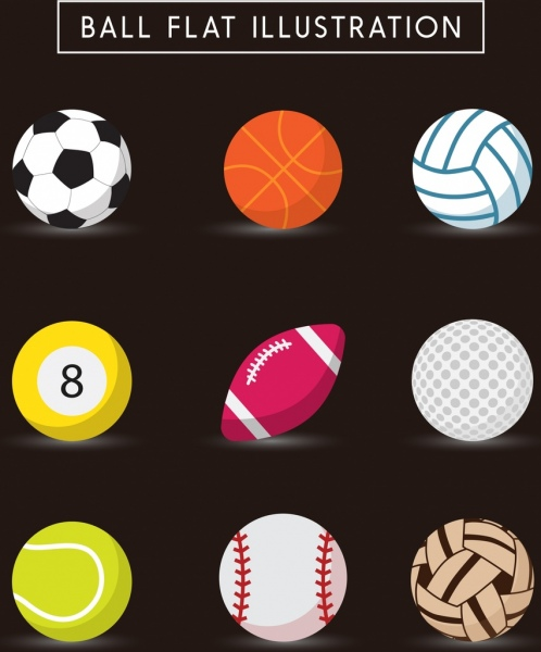 ball icons collection various colored flat design
