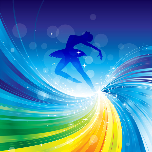 ballet dance on spiral abstract background