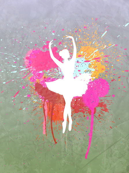 ballet girl silhouette in grunge background