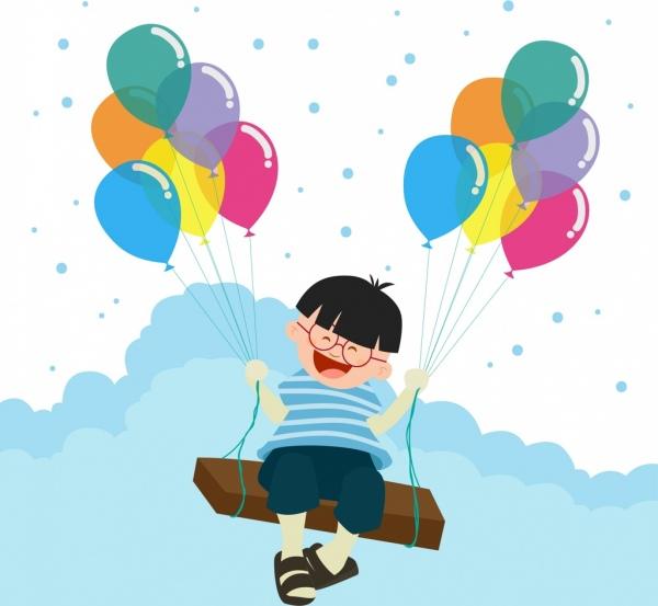 balloon background design smiling kid decoration