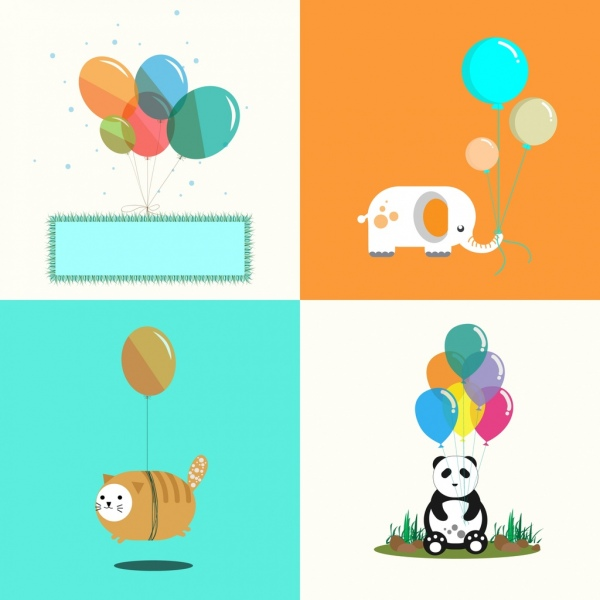 balloon background sets carpet elephant cat panda decoration