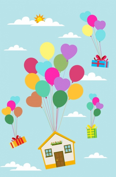 balloons background floating house presents decoration cartoon style