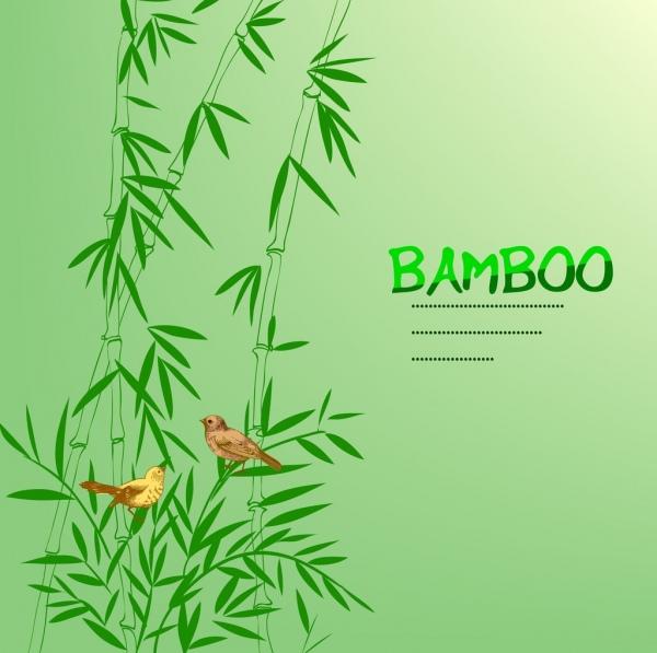 bamboo background green handdrawn icon bird decor