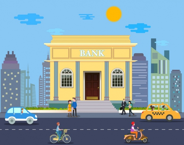 bank exterior design colored cartoon classical style