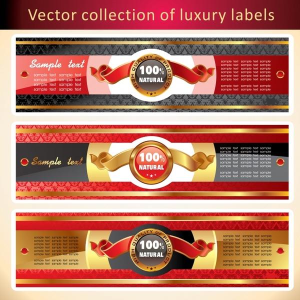 natural labels templates elegant colorful ribbon decor